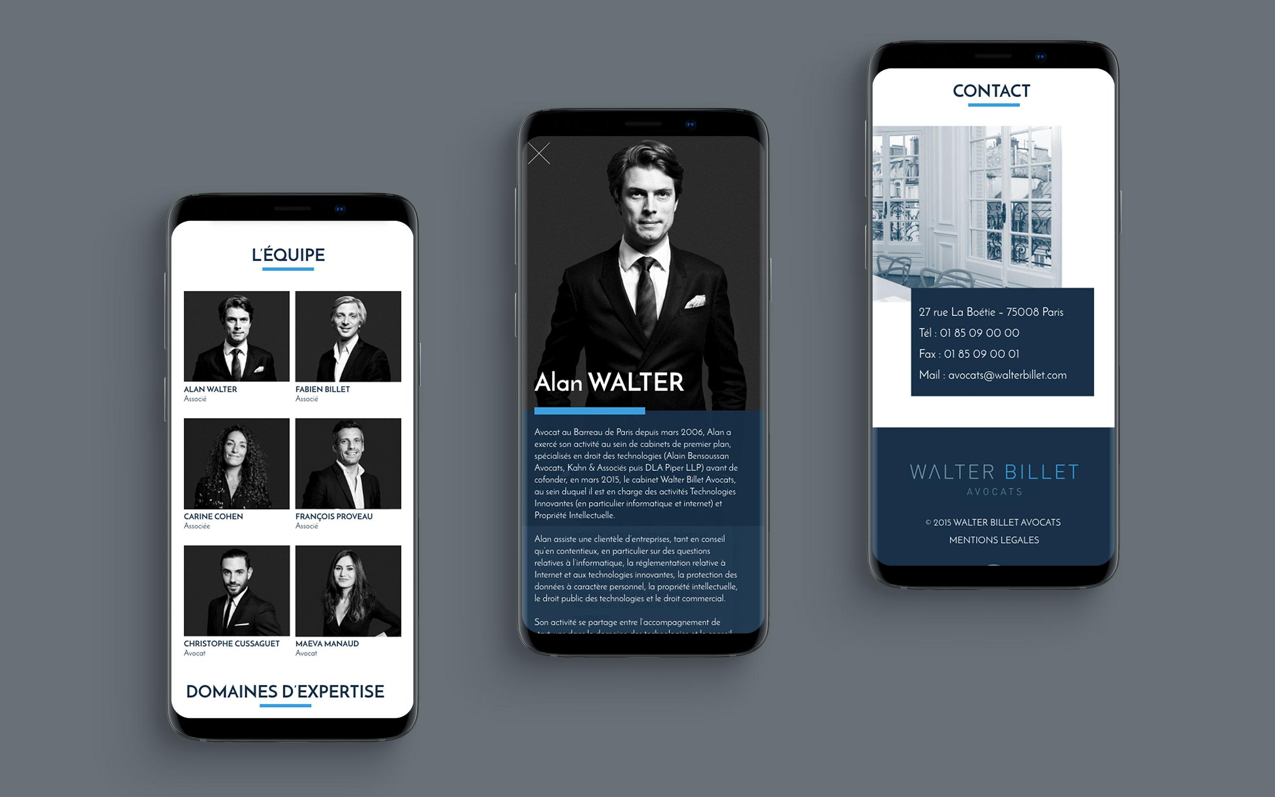 Walter Billet Avocats identité site mobile